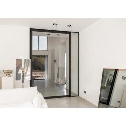 Glass pivot steel interior...