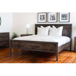 Industrial metal bed steel and wood - Tavera