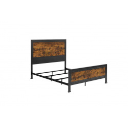 Industrial metal bed steel and wood - Worty