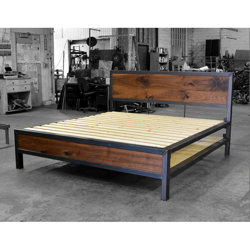 Industrial metal bed steel and wood - Rita