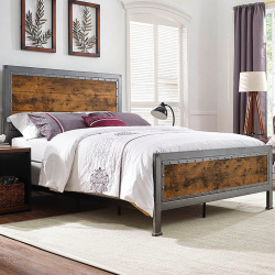 Industrial metal bed steel and wood - Irina