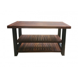 Industrial kitchen island with wood Jawi