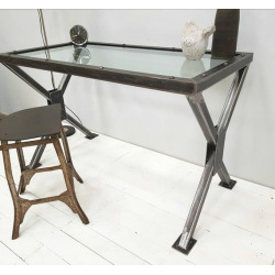 Steel workbench with Chicago glass